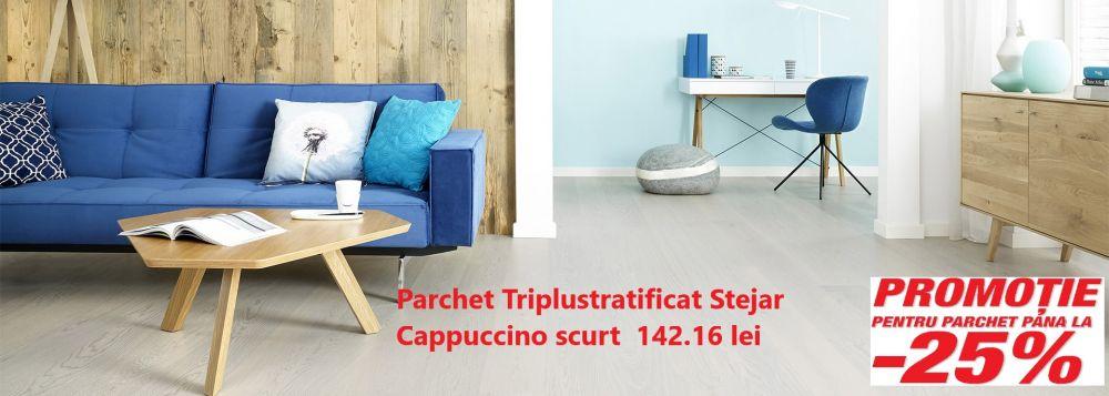 foto Parchet Triplustratificat Stejar Cappucino scurt