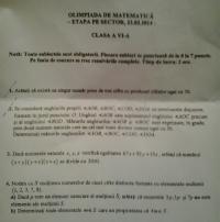 , Rezultate: Olimpiada de matematica, clasa VI, faza pe sector 23.02.2014 - CLICK AICI PENTRU DETALII